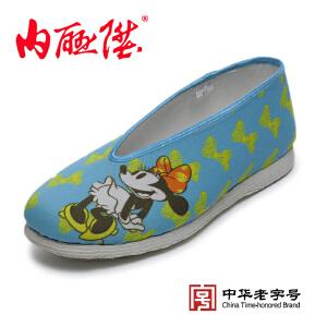 内联升女鞋手工千层底时尚兰色【迪士尼米妮】老北京布鞋 8253A