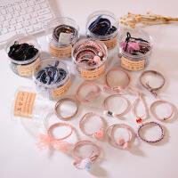 韩版12件套基础款学生发绳套装 小清新罐装发圈橡皮筋发绳森女系