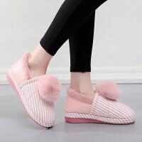 20190815055029845新款棉拖鞋女冬季女士可爱皮面防水室内冬厚底包跟保暖鞋冬天