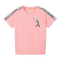 【到手价:104元】探路者童装 2020春夏新品户外女童轻磨毛弹力短袖T恤QAJI84085