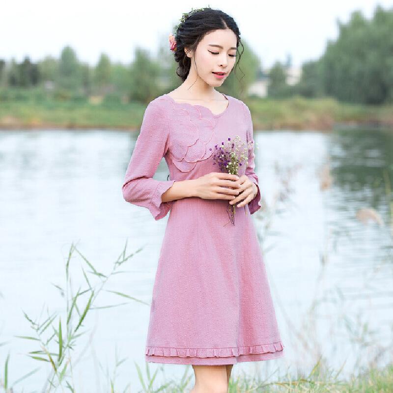 烟花烫2017夏装新款女装修身纯色荷叶边七分袖连衣裙晴洲