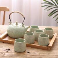 征伐 茶具套装 陶瓷创意复古彩色茶杯套装家用配木盘下午茶水壶水杯组合