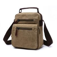 男包单肩包新款帆布包男士纯色横款方型斜挎包手提包休闲商务包