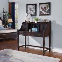 美式实木梳妆台小户型欧式翻盖化妆台卧室书桌一体 +妆凳 整装