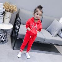 女童红色卫衣套装春季2018新款韩版儿童宝宝运动两件套连帽黄色潮