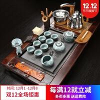 茶具套装家用中式复古茶具套装家用整套陶瓷全自动实木茶盘茶道简约喝茶功夫泡茶海 36件
