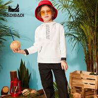 【3件2折:115.6】巴拉巴拉旗下 巴帝巴帝童装男童黑白运动套装宽松防风领口中大童19春新款