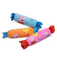 官方正版小猪佩奇粉红猪小妹佩佩猪午睡毛绒毯糖果款卡通抱枕被子两用枕