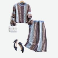彩色条纹高腰羊毛半身裙套装女秋冬新款宽松慵懒风时尚针织两件套