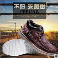 战地吉普 新款男鞋板鞋男士潮鞋 真皮休闲鞋加绒高帮棉鞋K299
