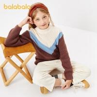 【3件35折价:59.5】巴拉巴拉儿童毛衣女童针织衫冬大童时尚套头打底衫