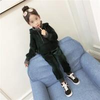 2017秋装新款童装女童金丝绒加厚卫衣套装韩版中大童儿童两件套