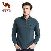 骆驼男装 秋季新款时尚修身立领套头纯棉商务休闲长袖卫衣男