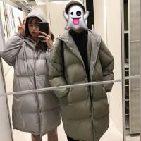 秋冬女装韩版bf宽松蝙蝠袖中长款连帽棉衣加厚情侣外套面包服