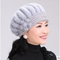 针织毛线帽兔毛贝雷帽老人帽中老年人女圆顶妈妈帽厚保暖帽
