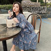 长袖连衣裙 女士半高领喇叭袖拼接A字裙2020年秋季新款韩版时尚女式清新甜美女装碎花裙