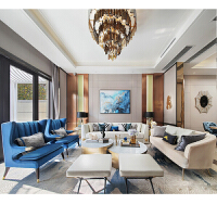 后现代简约轻奢客厅三人沙发港式不锈钢布艺沙发样板房间家具 组合