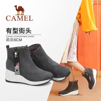 骆驼女鞋2018冬季新品短靴 时尚休闲韩版百搭厚底坡跟靴子时装靴