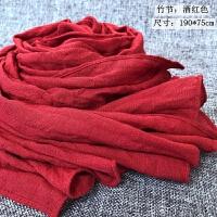 秋冬季时尚棉麻围巾女韩版百搭亚麻丝巾文艺黑色棕色披肩两用学生