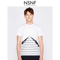 NSNF纯棉闪电线条图案白色圆领T恤男 短袖t恤男装2017新款 修身圆领针织短袖