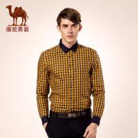 骆驼男装 秋季尖领标准格子长袖衬衫 衬衣男