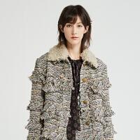 DAZZLE地素 2019冬装新款优雅淑女小香风粗花毛呢外套女2G4F4026L