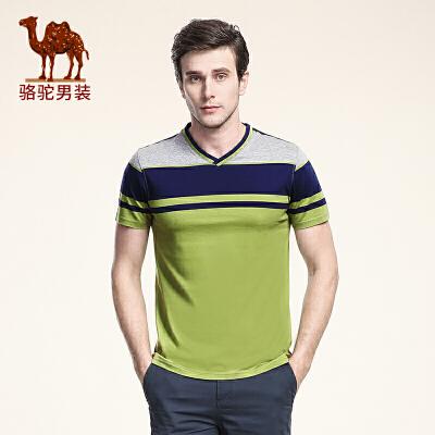 骆驼男装 夏季新款青年V领休闲条纹棉T恤衫 男士撞色上衣时尚T恤