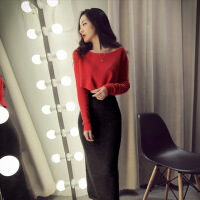 秋冬新款夜店女装时尚套装性感短款长袖上衣+开叉长裙两件套装裙