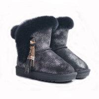 女大童棉靴儿童雪地靴女2018新款冬季防水加厚保暖真皮毛亲子棉靴