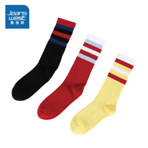 [尾品汇:35.9元,17日10点-22日10点]一包3双真维斯女装 2018冬装新款  条纹长筒袜