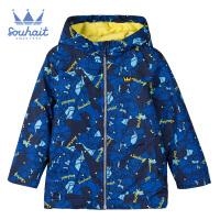 【秒杀价:109元】souhait水孩儿童装冬季新款男童加绒外套时尚简洁厚风衣摇粒绒内里儿童加绒外套