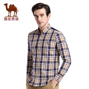 骆驼男装 秋季新款时尚扣领尖领修身日常纯棉格子长袖衬衫男