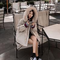 工装外套女加厚2018冬季新款女韩版宽松bf棉袄收腰中长款棉衣