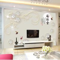 【家装节 夏季狂欢】8d现代中式电视背景墙壁纸5d立体客厅装饰墙纸壁画简约3D影视墙布 墙纸+胶水