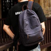 牧之逸新款双肩包简约帆布包男休闲背包旅行包学生书包男时尚潮流