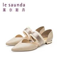 莱尔斯丹 彩色鞋专柜款V口尖头包头女式低跟凉鞋 9M10315