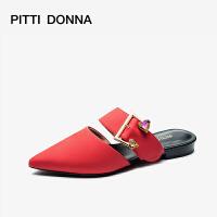 【顺丰包邮,大牌价:269】PITTIDONNA 2019尖头纯色低跟穆勒温柔鞋仙女平底拖鞋AM15101