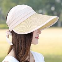 帽子女夏天户外遮阳防晒草帽大沿空顶可折叠太阳帽沙滩帽出游凉帽