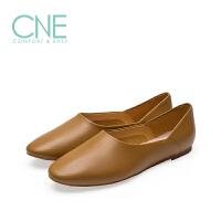 CNE2019春夏款船鞋日系纯色圆头舒适奶奶鞋懒人鞋女单鞋9M01903