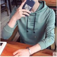 韩版时尚新款男装印花修身连帽卫衣潮男时尚青年长袖套头帽衫