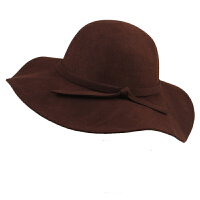 英伦复古时尚户外羊毛呢帽大檐爵士帽韩版圆顶波浪边大沿遮阳礼帽子女