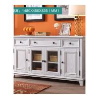 美式实木柜子储物柜餐边柜碗柜茶水柜酒柜厨房柜子收纳柜橱柜家具 4门