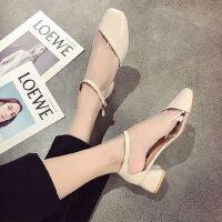 时尚复古一字带高跟鞋潮凉鞋女夏季网红仙女晚晚风温柔鞋