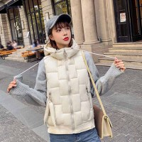 棉马甲 女士连帽短裤轻薄棉服马甲2020年冬季新款韩版时尚潮流女式甜美可爱女装无袖棉背心