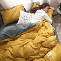 网红纯色四件套北欧简约被套床笠宿舍三件套磨毛床单床上用品日式