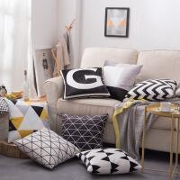 沙发抱枕现代简约风格几何双面图案靠枕荷兰绒腰靠家居布艺可定制