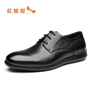 红蜻蜓男鞋2017秋季新款真皮男单鞋舒适休闲系带男士商务皮鞋正品