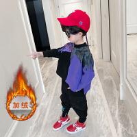 男童秋装套装洋气2018新款韩版儿童加厚卫衣中大童加绒两件套潮衣