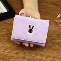新款女士钱包 女 短款日韩版简约迷你学生兔子小钱包零钱包钱夹皮夹 紫色 小兔子