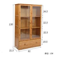 竹木书柜书架客厅书橱玻璃门带门书房家具自由组合2 门置物架门厅 0.8-1米宽
